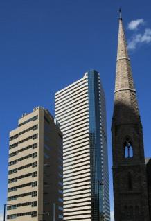 Denver skyline, with belltower at Trinity Lutheran.