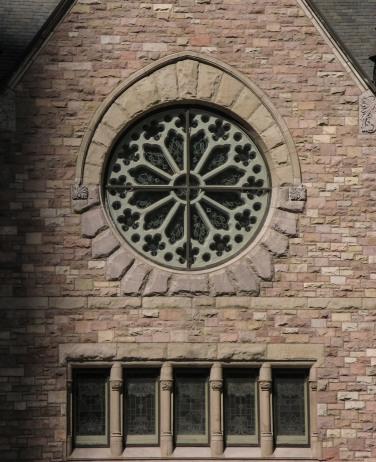 Rose window and stonework, Trinity Lutheran, Denver CO