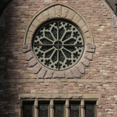 Rose window and stonework, Trinity Lutheran, Denver CO